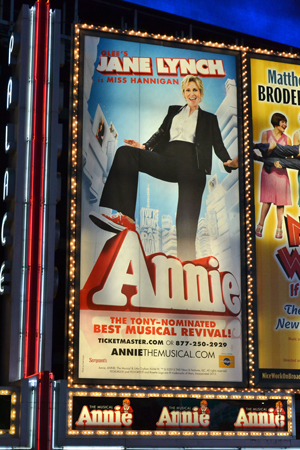 Catch Jane Lynch as Miss Hannigan in <i>Annie</i> at the Palace Theatre through July 14.<br />(© David Gordon)