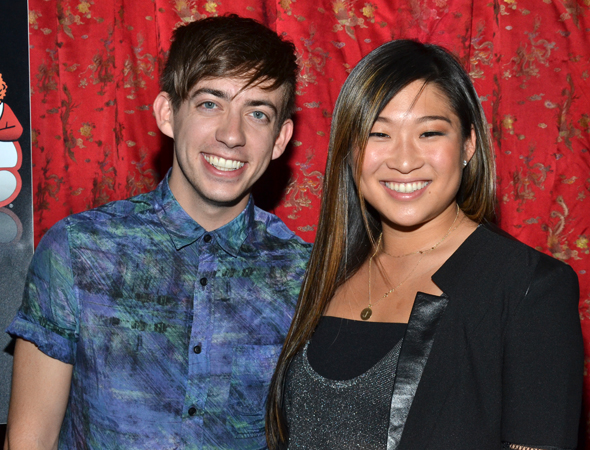 <i>Glee</i> stars Kevin McHale and Jenna Ushkowitz are thrilled to cheer on their TV arch nemesis, Jane Lynch.<br />(© David Gordon)
