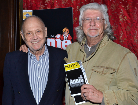 <i>Annie</i>'s proud songwriters, Charles Strouse and Martin Charnin, get close for a photo.<br />(© David Gordon)