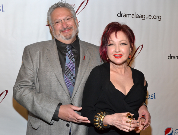 Harvey Fierstein and Cyndi Lauper, creators of Outstanding Production of a Broadway or off-Broadway Musical nominee <i>Kinky Boots</i>.<br />(© David Gordon)