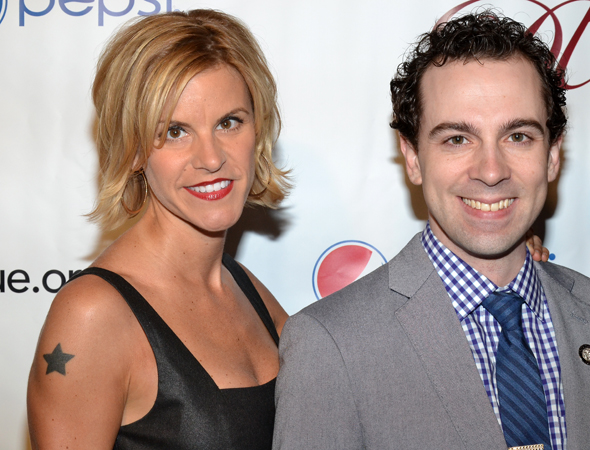 <i>Chaplin</i> stars Jenn Colella and Distinguished Performance Award nominee Rob McClure.<br />(© David Gordon)