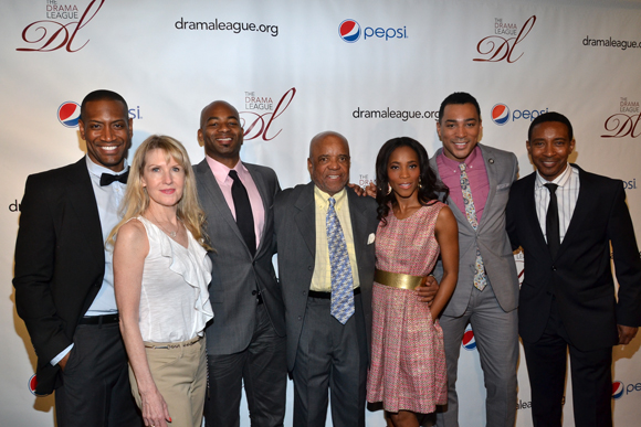Berry Gordy (center) and the family of Outstanding Production of a Broadway or off-Broadway Musical nominee <i>Motown the Musical</i>.<br />(© David Gordon)