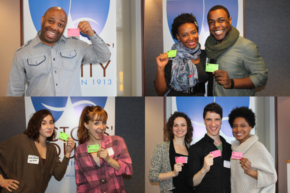 Actors' Equity members (Waliek Crandall, Lisa Helmi Johanson, Kyle E. Baird, Carolina Reiter, Kate Garfield, Leighton Bryan, Ben Mehl, and Margaret Odette) posing with their cards.
