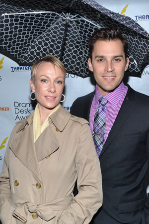 Outstanding Actor in a Musical nominee Ryan Silverman (<I>Passion</I>) arrives with wife Kim Craven.<br />(© David Gordon)
