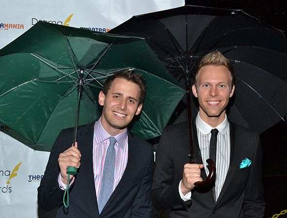 Composers Benj Pasek and Justin Paul of <I>A Christmas Story: The Musical</I> are the first to arrive on this rainy Sunday evening. <br />(© David Gordon)