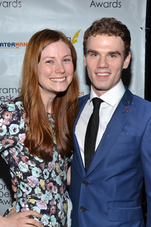 <I>Hands on a Hardbody</I> cast members Allison Case and Jay Armstrong Johnson show up to support the show, which is the most-nominated Broadway show this evening (nine awards). Johnson is also the recipient of the Outstanding Ensemble Performance Award along with his fellow <I>Working: The Musical</I> cast members. <br />(© David Gordon)