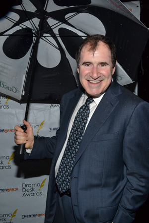 Drama Desk nominee Richard Kind (<I>The Big Knife</I>) has already won the most stylish umbrella award on the red carpet tonight. Will he win more?<br />(© David Gordon)