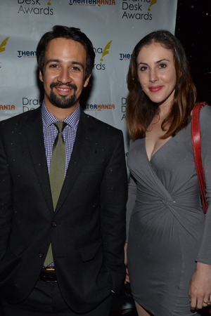Outstanding Lyrics nominee Lin-Manuel Miranda (<I>Bring It On: The Musical</I>) arrives with his guest for the evening, performer Anna Ty Bergman.<br />(© David Gordon)