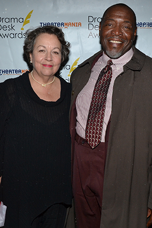 Outstanding Featured Actor in a Play nominee Chuck Cooper (<I>The Piano Lesson</I>) is accompanied by his wife, playwright Deborah Brevoort (<I>The Women of Lockerbie</I>).<br />(© David Gordon)