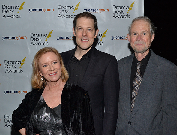 John Bolton (center) is nominated for Outstanding Featured Actor in a Musical for his role in <I>A Christmas Story: The Musical</I>. He is joined by <I>Brady Bunch</I> actress Eve Plumb and <I>A Christmas Story</I> playwright Joseph Robinette, who is also nominated for Outstanding Book.<br />(© David Gordon)