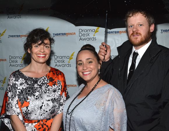Wakka Wakka (Gwendolyn Warnock, Gabrielle Brechner, and Kirjan Waage) receive a special award this evening for sophisticated puppet theater for their show <I>SAGA</I>.<br />(© David Gordon)