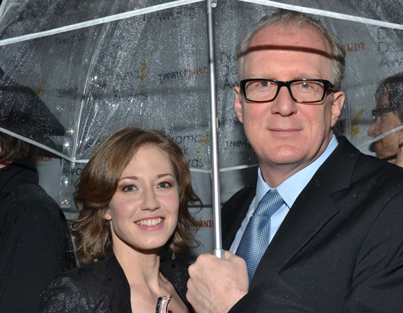 Tony Award nominee Carrie Coon accompanies castmate Tracy Letts, who is nominated tonight for Outstanding Actor in a Play for his performance in <I>Edward Albee's Who's Afraid of Virginia Woolf?</I><br />(© David Gordon)