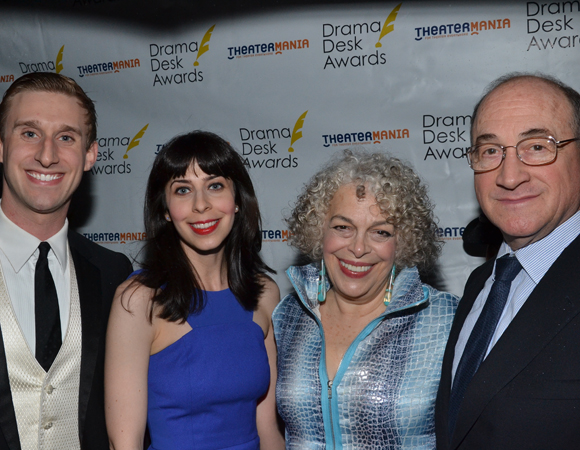 Bill Army, Audrey Lynn Weston, Todd Susman, and Marilyn Sokol, the cast of <I>Old Jews Telling Jokes</I>, feature prominently in this evening's proceedings. <br />(© David Gordon)
