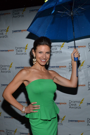 Jenny Powers (Outstanding Actress in a Musical nominee for <I>Donnybrook!</I>) is unphased by the rain.<br />(© David Gordon)