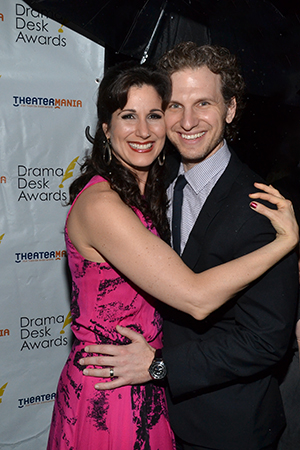 Outstanding Actress in a Musical nominee Stephanie J. Block (<I>The Mystery of Edwin Drood</I>) said yes to pink tonight. Here she is with her handsome hubby, Broadway veteran Sebastian Arcelus. <br />(© David Gordon)