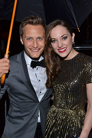 Outstanding Actress in a Musical nominee Laura Osnes (<I>Cinderella</I>) arrives at the Drama Desk ball with her husband, Nathan Johnson. <br />(© David Gordon)
