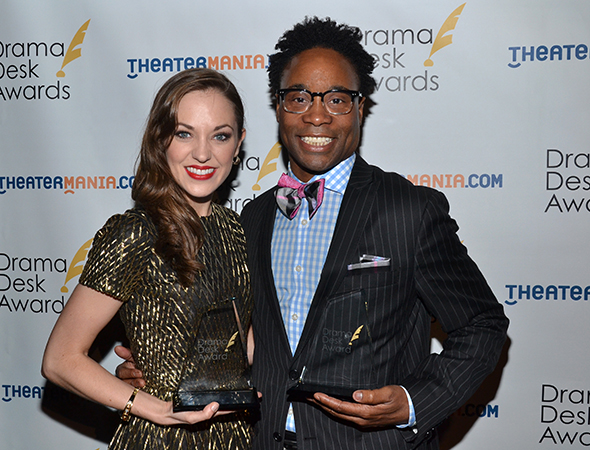 Outstanding Actress/Actor in a Musical winners Laura Osnes and Billy Porter.<br />(© David Gordon)