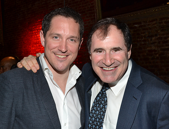 2013 Drama Desk Award winners Bertie Carvel and Richard Kind share their elation in a photo.<br />(© David Gordon)
