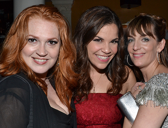 Stage veterans Katie Thompson, Lindsay Mendez, and Julia Murney get close for the camera.<br />(© David Gordon)