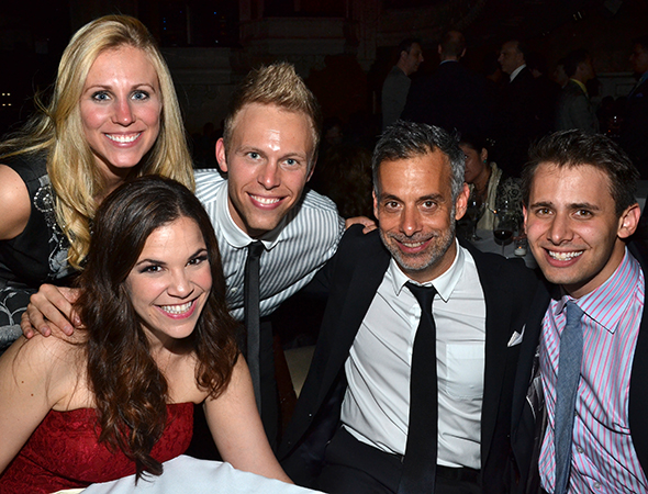 The <i>Dogfight</i> family: (from left) Lindsay Mendez, Asher and Justin Paul, Joe Mantello, and Benj Pasek.<br />(© David Gordon)