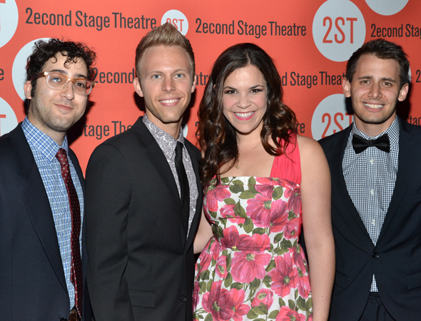 Lindsay Mendez (third from left) joins her <i>Dogfight</i> writers, Peter Duchan, Justin Paul, and Benj Pasek, for a quick snapshot.<br />(© David Gordon)