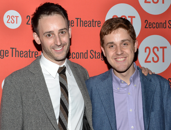 The writers of Second Stage Uptown's forthcoming <i>Murder for Two</i>: Joe Kinosian and Kellen Blair.<br />(© David Gordon)