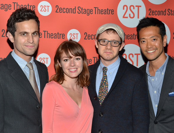 The cast of Second Stage Uptown's <i>The Tutors</i>: Matt Dellapina, Aubrey Dollar, Chris Perfetti, and Louis Ozawa Changchien.<br />(© David Gordon)