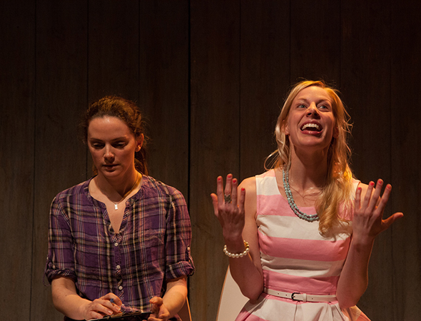 Cesa Pledger and playwright Abby Rosebrock in a scene from <i>Different Animals</i> at the Cherry Lane Theatre.