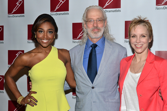 Terrence Mann and his beautiful women of <i>Pippin</i>: Patina Miller to his left and his wife, Charlotte d'Amboise, to his right.<br />(© David Gordon)