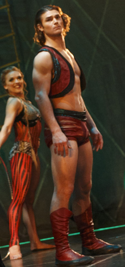 Orion Griffiths smolders in <I>Pippin</I> as Viktoria Grimmy looks on.