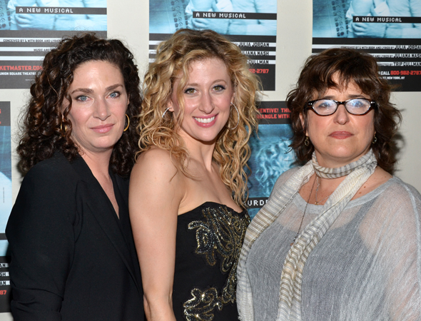 Coauthors Julia Jordan (left) and Juliana Nash (right) join production star Caissie Levy for a snapshot.<br />(© David Gordon)