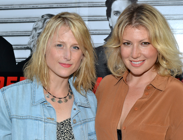 Stage favorites Mamie Gummer and Ari Graynor pal around before heading into the Union Square Theatre.<br />(© David Gordon)
