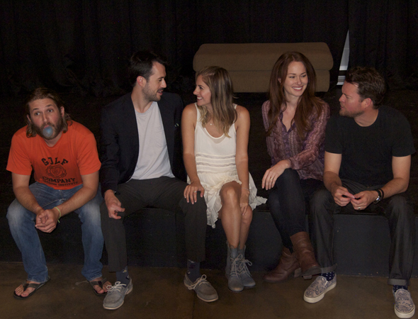 The cast of the world premiere of <i>Perennial</i> pictured from left to right: Billy Aaron Brown, Wes Whitehead, Tammy Minoff, Kelly Frye and John Churchill.<br />© Page Bartelt