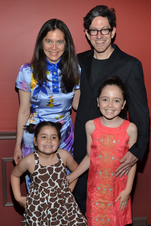 Outstanding Director of a Musical winner Diane Paulus shares a photo with her family, husband Randy Weiner, and daughters Katharine and Natalie.<br />(© David Gordon)