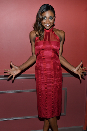 Patina Miller, winner of the Outstanding Lead Actress in a Musical award for her work as the Leading Player in <i>Pippin</i>, shows off her Fosse hands.<br />(© David Gordon)