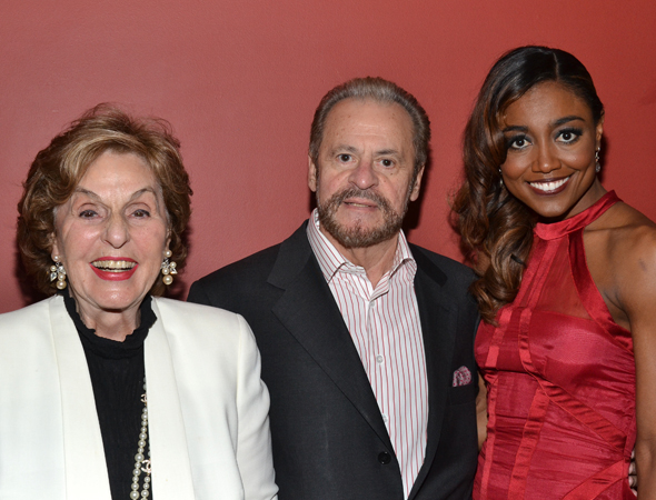 <i>Pippin</i> producers Fran and Barry Weissler smile alongside their star, Patina Miller.<br />(© David Gordon)
