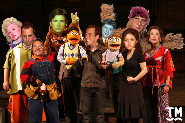 The cast of <i>Arrested Development</i> in <i>Avenue Q</i>.
