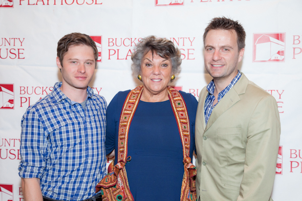 <i>Mothers and Sons</i> cast members Bobby Steggert, Tyne Daly, and Manoel Felciano cozy up for the camera.<br />(© Seth Walters)