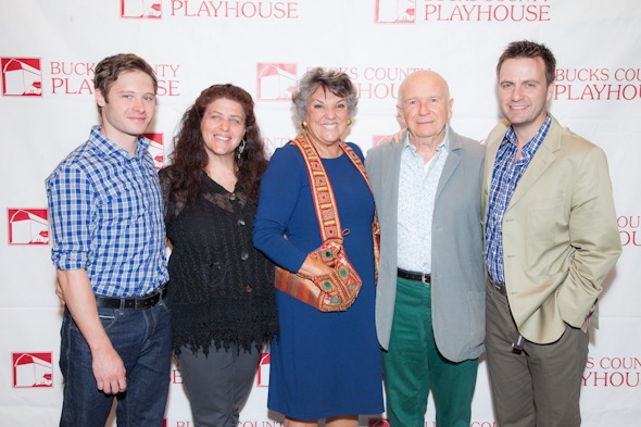 <i>Mothers and Sons</i> cast and creative team: Bobby Steggert, Sheryl Kaller, Tyne Daly, Terrence McNally, and Manoel Felciano.<br />(© Seth Walters)