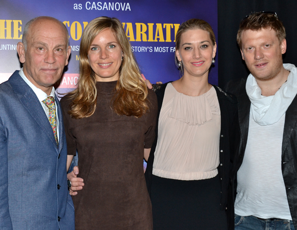 <i>The Giacomo Variations</i> cast members John Malkovich, Sophie Klußmann, Kristin Blaise, and Daniel Schmutzhard.