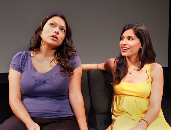Rachel González starring as Canela Guerrero alongside Maricela Guardado in a scene from <i>Hungry Woman</i>.<br />(© Ed Krieger)