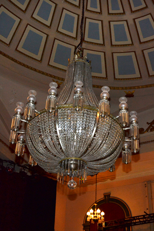 """The chandelier was here, but we lowered it,"" Wendland states about the gorgeous centerpiece of the room.<br />(© David Gordon)"