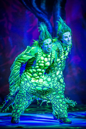 Scott Leiendecker and Sean Patrick Doyle as the evil pair of eels Flotsam and Jetsam.<br />(© Billy Bustamante)