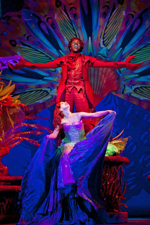 Sebastian (Alan Mingo, Jr.) and Ariel (Jessica Grové) sing together. <br />(© Jerry Dalia )
