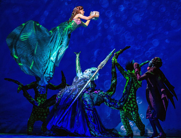Pictured from left to right: Jessica Grové (Ariel), Liz McCartney (Ursula), Sean Patrick Doyle (Jetsam) and Alan Mingo, Jr. (Sebastian).<br />(© Billy Bustamante)