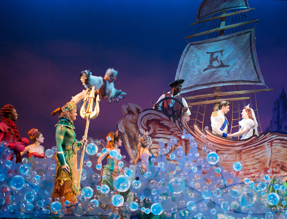 Prince Eric (Nick Adams) and Ariel (Jessica Grové) live happily ever after alongside the company of <i>The Little Mermaid</i> at Paper Mill Playhouse.<br />(© Billy Bustamante)