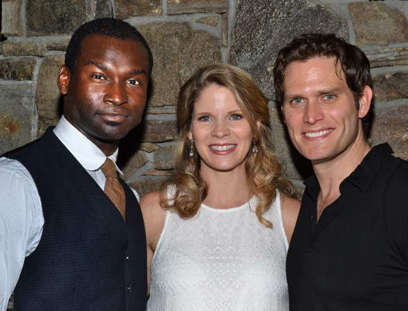Isaiah Johnson (who plays gardener Raymond Deagan) and Steven Pasquale (who plays Cathy's husband, Frank) flank their on stage scene partner, Kelli O'Hara.<br />(© David Gordon)