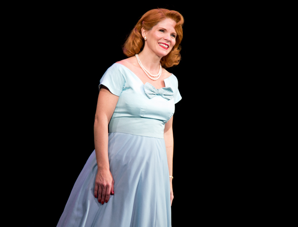 Kelli O'Hara takes her curtain call on the opening night of <i>Far From Heaven</i> at Playwrights Horizons.<br />(© David Gordon)
