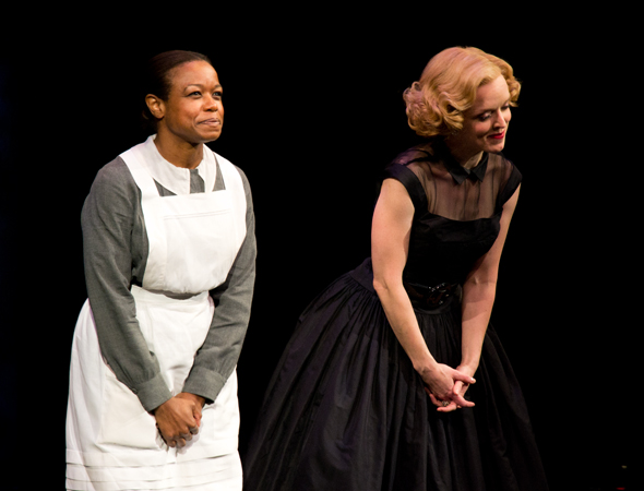 Quincy Tyler Bernstine and Nancy Anderson share a bow.<br />(© David Gordon)