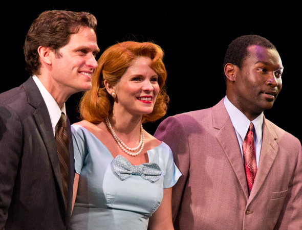 The pleased leads, Steven Pasquale, Kelli O'Hara, and Isaiah Johnson, drink in the audience's appreciation.<br />(© David Gordon)